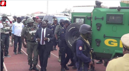 Cameroon's Sports Minister Visits Restive Limbe In GPIGN Amoured Car.
