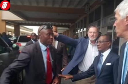 Nagy Tibor arrived Cameroon and was received by US Ambassador to Cameroon, Peter Barlerin.