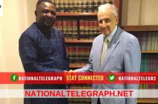 National Telegraph captures picture as Dr David Makong greets Ambassador Cohen in his Washington DC office.